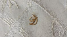 """14K Solid Yellow Gold D Script Initial Charm Estate Find 5/8"""" .2 grams"""