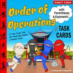 Order of Operations Task Cards {With Parentheses and Exponents} $