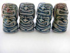 4 Raku Tiki Beads - Two Face - ceramic, peruvian, fantasy, mythological - RAK841