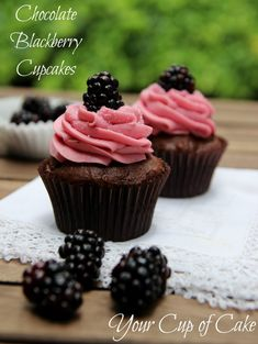 Chocolate Blackberry Cupcakes Chocolate Cake: 1 box Devil's Food Cake mix 3 eggs 1/2 cup oil 1 cup milk 1/3 cup plain or vanilla yogurt 2 teaspoons vanilla extract Blackberry Buttercream: 1 cup butter, softened 3-4 cups powdered sugar 4-5 tablespoons blackberry puree