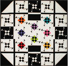 Spinning Nine Patch Notes, 39.5 x 39.5, by Connie Kauffman, at Kauffman Designs - Quilt Inspiration: Beautiful in black and white