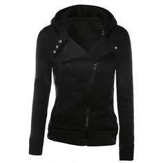 Black Zipper Front Hooded Sweatshirt ($21) ❤ liked on Polyvore featuring tops, hoodies, black top, zip-front hoodie, zip front hooded sweatshirt, black hoodie and zip front top