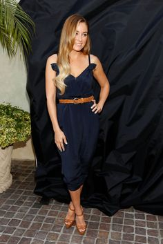 Lauren Conrad Long Wavy Cut - Lauren looked lovely in a navy 3.1 Philip Lim Jumper with a softly-waved side-parted hairstyle.