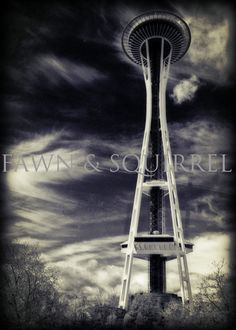 Seattle Space Needle 8 x 12  B & W lomo by FawnandSquirrel on Etsy, $27.00