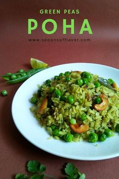 Quick green peas poha is made with flattened rice, green peas, and it has an extra zing of coriander and mint, which makes this dish unique. Unique Recipes, Side Dish Recipes, Indian Food Recipes, Mexican Side Dishes, Best Side Dishes, Vegetable Recipes, Vegetarian Recipes, Delicious Recipes, Poha Recipe