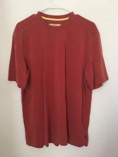 Mens TOMMY BAHAMA Orange Short Sleeve Shirt Medium M Tencel Blend Tee Golf Top #TommyBahama #BasicTee