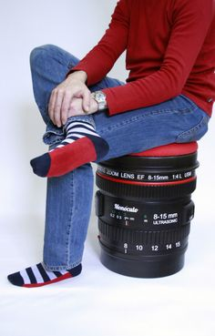 Reflex lens stool, DSRL Paparazzi stool, lens stool, camera lens stool. €580.00, via Etsy.