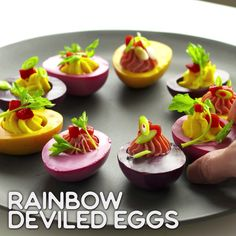 Rainbow Eats: Rainbow Deviled Eggs You are in the right place about food recipes for Deviled Eggs Recipe, Tasty, Yummy Food, Healthy Food, Food Garnishes, Food Platters, Food Decoration, Creative Food, Food Design