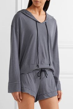 Skin | Striped Pima cotton and modal-blend hooded top | NET-A-PORTER.COM