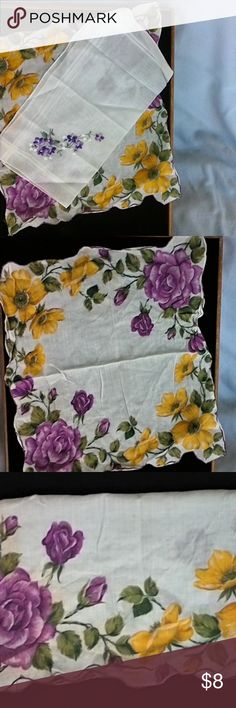 Vintage Hankies 2 Vintage Hankies in very good condition but not perfect cause they are Vintage from the 60s.  The Flowered Scalloped edge one is 12 inches wide and 10inches long.  The embroidered Purple flowered one is 12 inches wide and 10 inches long.  They make a good Vintage accessory  The price is for both Hankies Vintage Accessories Scarves & Wraps