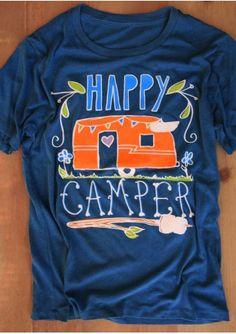 5eb8dbeecbd Happy Camper Printed Short Sleeve T-Shirt Hippies