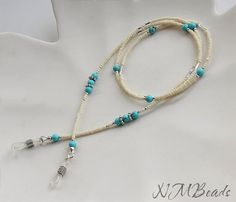 Beaded Glasses Chain With Turquoise Sterling Silver Cream And Blue Eyeglass Lanyard Eyeglasses Holder Necklace Teacher Mothers Gift For Her Eyeglasses Chain With Turquoise, Sterling Silver by NMBeadsJewelry Beaded Jewelry, Beaded Necklace, Beaded Bracelets, Silver Jewelry, Eyeglass Holder, Mother Gifts, Eyeglasses, Jewelery, Creations