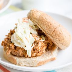 You can serve this pulled pork piled up on a whole wheat bun, or serve it on its own and still get a totally filling dinner with fewer carbs!