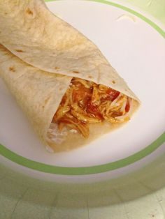 Crockpot Chicken Taco Burritos...SO SO SO easy! Only 3 ingredients! Kids love! Easy weeknight meal. www.MommyEdwards.com