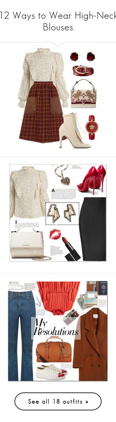 """12 Ways to Wear High-Neck Blouses"" by polyvore-editorial ❤ liked on Polyvore featuring waystowear, HighNeckBlouses, Versace, Rebecca Taylor, Sergio Rossi, Bulgari, Annoushka, Givenchy, Christian Louboutin and Roland Mouret"