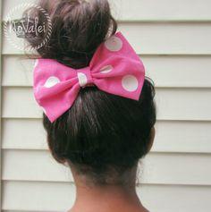 Hair Bow - Pink, White, Polka Dots Hair Bow on Wanelo $5.99