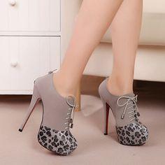 Elegant Lace Up Zipper PU Patchwork High Heel Ankle Boots Black & Leopard $16.69