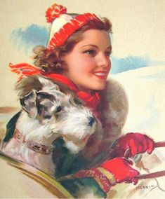 Vintage Christmas card - woman and Wirehair Fox Terrier.  Illustration by Jules Erbit