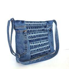 Recycling-Crossbody Tasche, Blue Denim Seite Geldbörse, Upcycled Jean Tasche Vegan Denim Geldbörse, cross Body Bag, blaue Tasche, Reisetasche von Teens, Girls