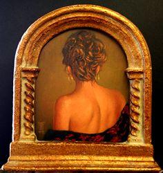 """KIM IN SHAWL (Framed) by Mollie Erkenbrack Oil ~ 7 7/8"""" x 6 1/2"""" Gallery, S Jenkins Fine Art, Butte, MT"""