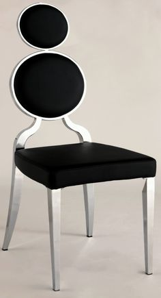 Chintaly Imports Oprah Black Double Ring Back Side Chair Set    -double oval back   -stainless steel legs