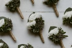 Organic Boutonnieres, Ivory, white and blush florals and mixed foliage, Summer Wedding, Brant Lake, NY Wedding, Courtney and Brandon's Wedding at Jimbo's Club at the Point, NY - Samantha Nass Floral Design