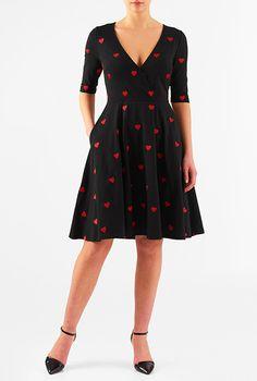 I <3 this Embellished heart cotton knit dress from eShakti