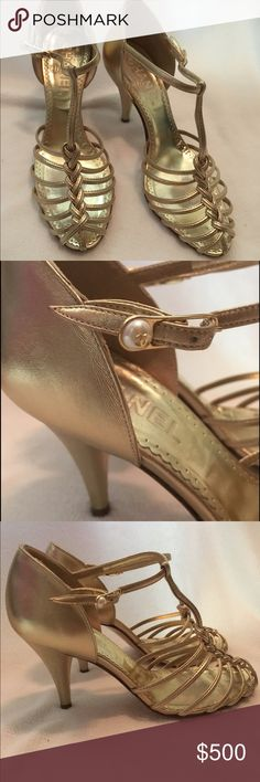 Authentic Chanel Gold Leather High Heels Authentic Chanel Gold High Heels. Size 37. Worn once. Good condition. Light scratches on leather on back of heel. Gorgeous shoes! Comes with box. Fast shipping! CHANEL Shoes Sandals