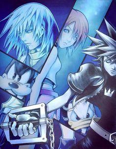 Sora, Kairi, Riku, Donald Duck, and Goofy - Kingdom Hearts Riku Kingdom Hearts, Kingdom Hearts Games, Sora And Kairi, Sora Kh3, Tetsuya Nomura, Kindom Hearts, Video Game Art, Video Games, Shall We Date