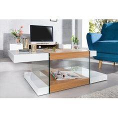 Table basse 110 cm en MDF et verre trempé coloris blanc laqué
