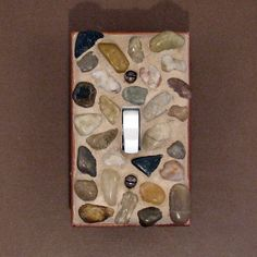 River Rock Mosaic Light Switch Plate Cover by Judy Evans Collection Mosaic Rocks, Mosaic Art, Rock Mosaic, Switch Plate Covers, Light Switch Plates, Rock Crafts, Arts And Crafts, Designer Light Switches, Mermaid Room