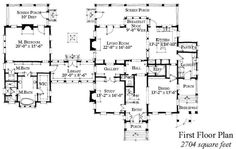 First Floor Plan of Country   Historic   House Plan 73879 love it that you have to walk through a library to get to the master bedroom. So us!
