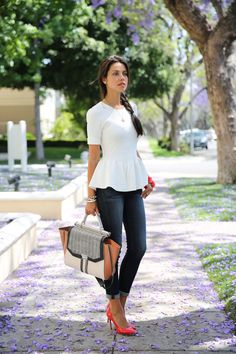 white peplum, coral pumps