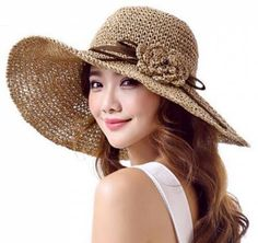 Straw wide brimmed hats with flower for ladies summer uv sun protection hat