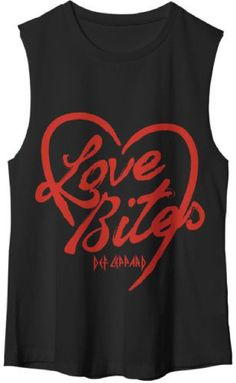 Def Leppard Love Bites Song Title Women's Black Sleeveless Muscle T-shirt