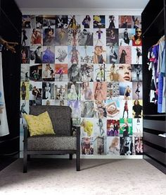 LOVE the magazine collage walls. this could change with each season
