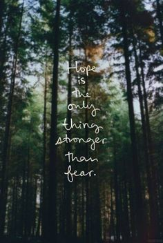 """""""Hope is the only thing stronger than fear."""""""