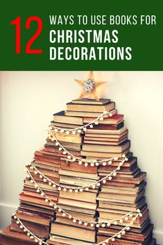 12 Christmas decorating ideas for bookworms, including great bookcase decorations and DIY options for your home or apartment. #christmasdecor #christmasdecorations