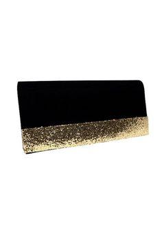 Barratts Black Glitter Strip Fold Over Clutch Bag.   #NewYears2013 #NewYearsDresses #NewYearsfashion2013 #NYEstyle #NYEStyleTrends #WhattowearonNYE