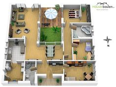 Bungalow Grundrisse - bring nature into the house - atrium house floor plan