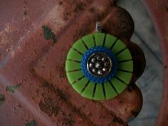 vintage button pendant green cut celluloid by Suddendeersighting, $20.00