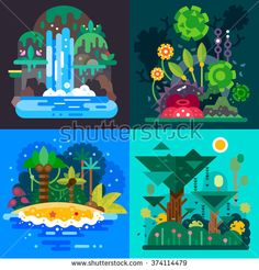 Four Fantastic jungle landscapes with a tropical bushes, paradise island, mystical waterfall and rain forrest. Flat vector illustration set.
