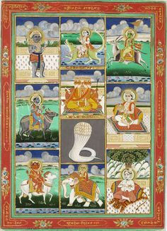 The Hindu Guardian Deities ca. 1890 Jaipur, India Painted in opaque watercolour and gold on paper (via V&A museum)