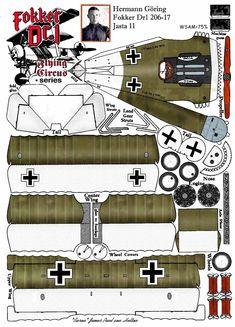 Fokker DR1 Hermann Göring Cardboard Model, Diy Cardboard, Paper Airplane Models, Model Airplanes, Fokker Dr1, Free Paper Models, Paper Aircraft, Paper Box Template, Wood Toys Plans