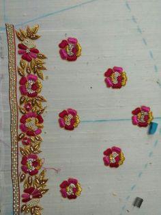 Rama Devi whatsapp no 9885925155 Zardosi Embroidery, Kurti Embroidery Design, Hand Embroidery Dress, Hand Embroidery Designs, Embroidered Blouse, Fancy Blouse Designs, Bridal Blouse Designs, Blouse Neck Designs, Sleeve Designs