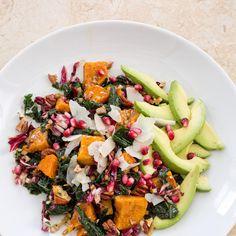 Overnight Avocado Kale Salad with Roasted Sweet Potatoes and Pomegranate Vinaigrette