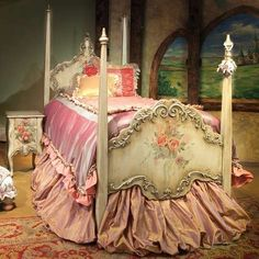 Wow ~ Over the top but so pretty just a real princess bed!
