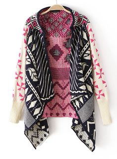 Pink Long Sleeve Tribal Pattern Asymmetrical Cardigan