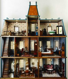 Victorian Dollhouse Accessories and Furniture Miniature Rooms, Miniature Houses, Miniature Furniture, Doll Furniture, Kitchen Furniture, Antique Dollhouse, Diy Dollhouse, Dollhouse Miniatures, Victorian Dollhouse Furniture