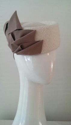 Shaped pillbox - Cream with Taupe - by Lauren J Ritchie